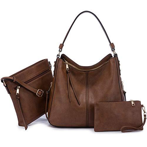 Realer Damen Handtaschen Groß Shopper Lederhandtasche Schultertasche Umhängetasche Geldbörse Hobo Damen Taschen Set 3pcs Braun