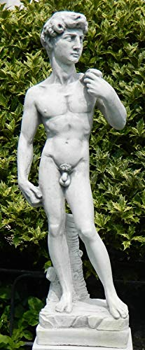 JS GartenDeko Dekoskulptur Skulptur Dekofigur Figur David von Michelangelo antik grau H 58 cm aus frostsicherem Beton