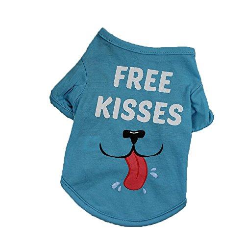 Doublehero Haustier Sommer Kurzarm T-Shirt Hund Gedruckt Pullover Weiches und Bequemes Hundekostüm für Kleine und Mittlere Hunde Katze Welpen (L, Sky Blau)