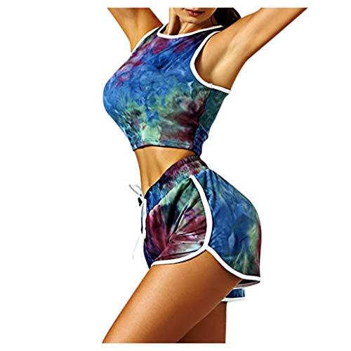 Buy kaifongfu Two Piece Outfits for Women - Sleeveless Tie Dye Crop Tops Shorts Set Tracksuit Plus S...
