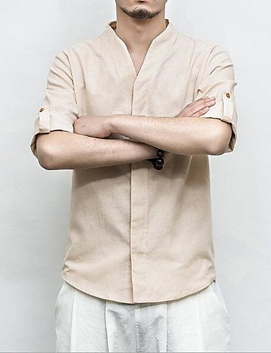 HAN-NMC Men's Casual/Simple Quotidien Chinoiserie Printemps Automne Shirt,Stand Solides Manches 3/4 Coton Lin Autres,5XL,Beige