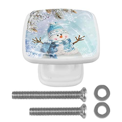Paquete de 4 perillas para gabinete,Árbol de Navidad Muñeco de nieve Campanas de copo de nieve ,Manijas de perilla de puerta de cajón de cocina de decoración de cristal de cristal Cuadrado blanco