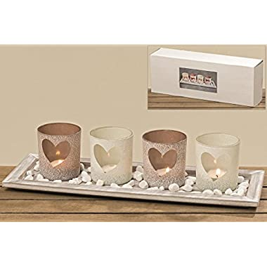 The Americana Windlight Centerpiece Set of 5, 4 Tealight Candle Holders with Heart Shaped Windows, Decorative Pebbles, 1 Natural Wood Tray, 15 3/4 Inches Long, By Whole House Worlds