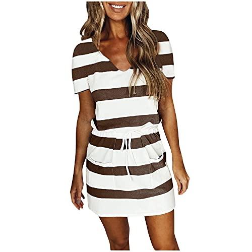 Vestido de Mujer Casual Suelto a Rayas Estampado Corbata con Cuello en V Manga Corta Casual Vestido de Rayas Mujer Corto con cordón con Bolsillo Verano Playa Fiesta Vestido