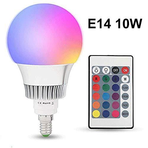 Lampadine LED Colorate E14,10W RGBW Dimmerabile Edison Cambiare Colore Lampadina con Telecomando,Perfetto per Casa, Party, Bar, Discoteca, KTV Fase Effetto Luci [Classe di efficienza energetica A+]