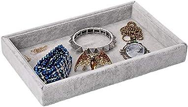 (Grey) - Yerwal Velvet Jewellery Empty Tray Showcase Display Organiser for Ring Earring Necklace Pendants Bracelet (Grey)