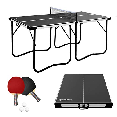 WIN.MAX Tischtennisplatte Midsize, 5.5FT Klappbare Tischtennistisch mit Netz, 2021 Neu TT-Platte für Indoor (Schwarz)