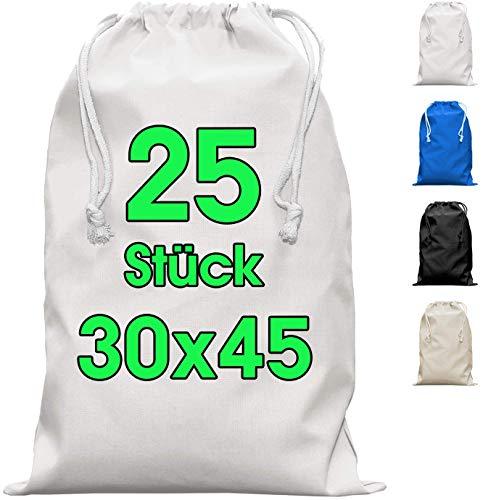 Zuziehbeutel Baumwollbeutel 25 Stück 30 x 45 cm - Rucksack Stofftasche Turnbeutel Bag, Beutel, Reise Haushalt, Jutebeutel zertifiziert Stoffbeutel Einkaufsbeutel mit Kordelzug zum bemalen in Weiss