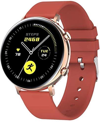 TYUI Reloj Inteligente Hombres Mujeres Bluetooth Llamada Deportes Reloj Hd Pantalla Smartwatch Ip68 Impermeable para iOS Android-Oro Rojo