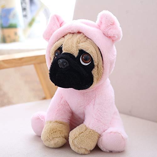 HUAHU Juguete de peluche de peluche, perro de pug con lindo disfraz, villano de Plushies vestido como lindos juguetes divertidos de felpa para nios de peluche regalo para amante, 19.9 cm