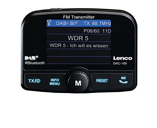 Lenco Auto DAB+ Digitalradio Adapter DAC-100 FM-Transmitter (DAB / DAB+, Freisprech-Funktion, Farbdisplay, SD-Karten Slot, USB) mit Antenne und Universal-Halterungen