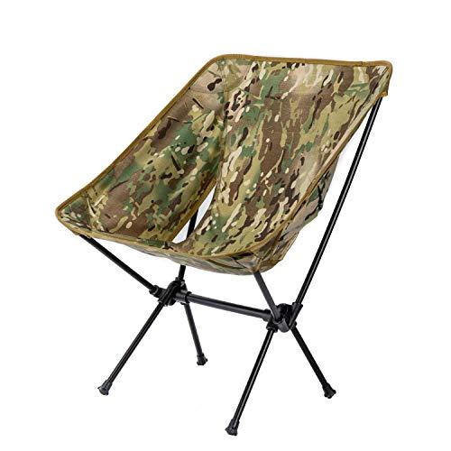 OneTigris Silla plegable de camping para exteriores, con marco de aluminio 7075, para pesca, actividades al aire libre, senderismo, picnic, hasta 120 kg (multicam)