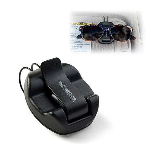 Superior Essentials Sunglasses Holder for Sun Visor/Air Vent - Conveniently Holds Sunglasses - Easy One Handed Operation