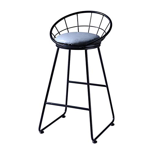 MASP Barstools Bar Chair Bar Stool High Chair with backrest Can be Used in bar Cafe Living Room Bedroom (Color : Black)