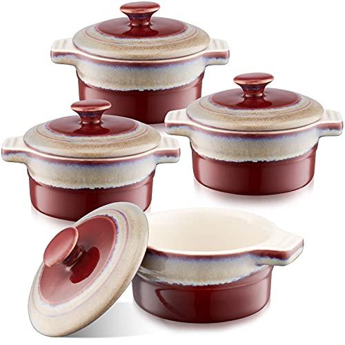 LOVECASA Moldes de Cerámica de Gres con Tapa, 200 ml Moldes para Horno Mini Cazuela de Soufflé, Creme Brulee, Postre, Juego de 4