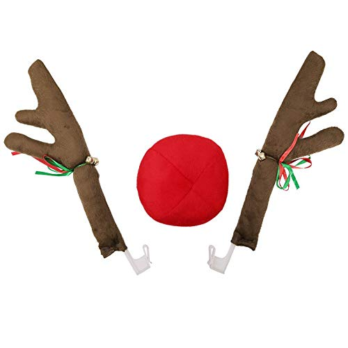 Misaky Christmas Decorations Ornaments, Rudolph Car Costume Christmas Deer Antlers & Red Nose for Truck SUV Decor