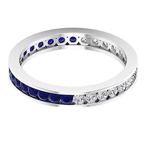Rosec Jewels 10 quilates oro blanco redonda round-brilliant-shape H-I Blue Diamond Zafiro difuso