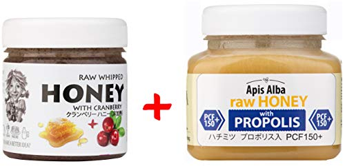 【Amazon.co.jp限定】 はちみつ 蜂蜜 ハチミツ 生 2個組 セット (クランベリーハニー200g、プロポリスハニー150+ 390g) Raw Honey Set Cranberry 200g & Propolis PCF 150+ 390g