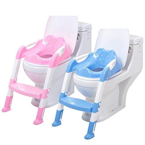 Multi-steps pour enfant Toilettes Grande taille Borne Poêle pour bébé Réducteur WC avec marche pour étapes Assistant Pot Échelle réglable de siège de sécurité pour enfant