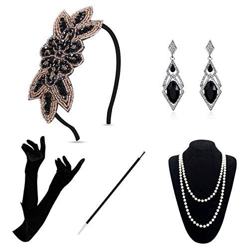 Accessori Flapper anni '20 – Set di accessori per costume Gatsby anni '20 ruggente vintage 1920 per costume da donna (oro A)