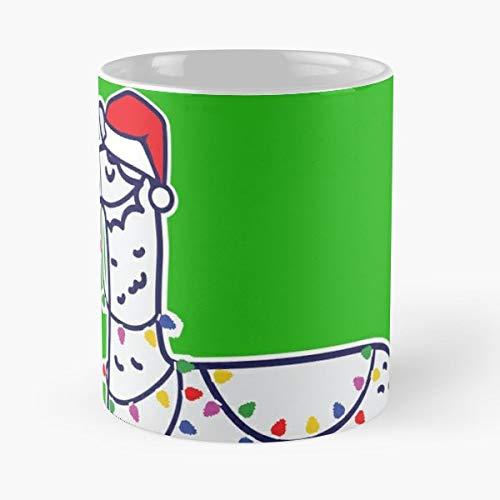 Chri-stmas Llama With Santa Hat And Lights Cla-ssic Mug Best Gift Coffee Mugs 11 Oz