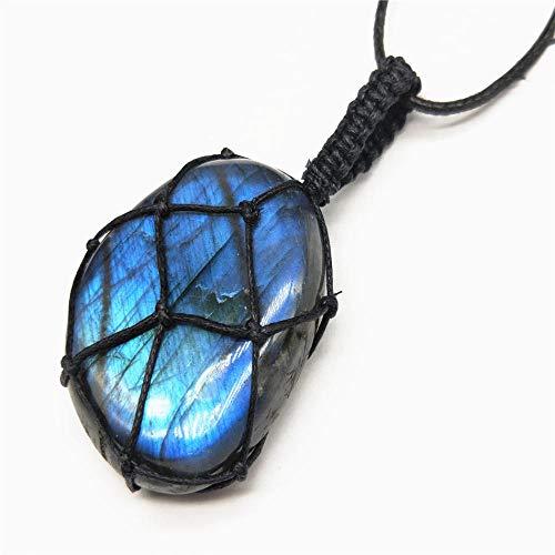 Naturstein Anhänger Halskette Halskette Naturstein Anhänger Wrap Braid Halskette Yoga Makramee HalsketteEnergie Halskette Drachen Herz-2