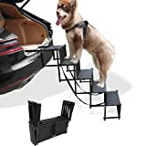 petshug 5 Steps Portable Widen Dog Car Stairs for Large Dogs, Folding Metal Frame Pet Steps with Nonslip Surface for Trucks, Cars, SUV and High Bed, Lightweight Safety Ramp Supports up to 170 Lbs