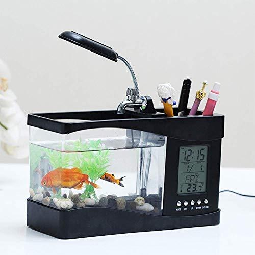 LMCLJJ USB-Desktop-Mini Fisch/Small Fry-Behälter-Aquarium mit LED-Uhr Unterwasser Laterne Kreative Acryl (Color : Black)