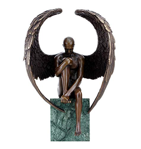 Kunst & Ambiente - Engel Akt Figur - Moderner Männerakt aus Bronze - Erotischer Engel - Höhe: 26 cm - grüner Marmorsockel - signiert - Skulptur