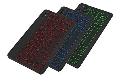 RONSHIN Electronics Accesories Universal Slim Portátil Inalámbrico Bluetooth 7 Colores Retroiluminado Teclado con Batería Recargable Integrada 10' Colorido retroiluminación negro