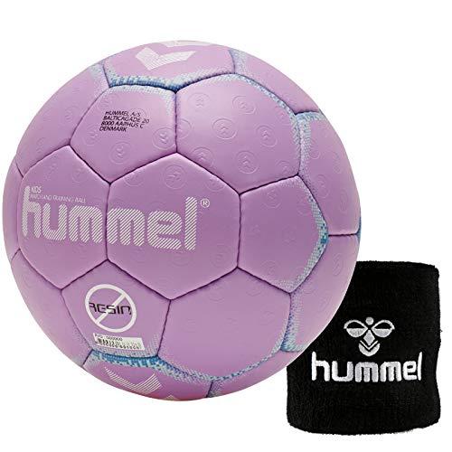Hummel Kinder Handball Kids 091792 Größe 00/0/1 im Set mit Schweißband Old School Small Wristband 99015 (schwarz) (Purple/Blue (4718), 0)