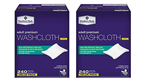 """Members Mark Adult zRxmH Washcloth Disposable Moist Wipes 12"""" x 8"""", 240 Count (2 Pack)"""