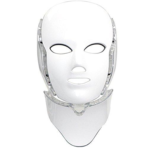 Moligh doll 7 Farben Led Gesichtsmaske Led Korean Photon Therapie Gesichtsmaske Maschine Lichttherapie Maske Neck Led für HautverjüNgung Pore Anti-Aging Sch?Nheit Lichttherapie Eu Stecker