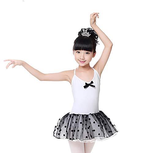Xiao Jian danskleding - kinderen sling dansrok ballet pluizige rok oefening kleding zomer prinses jurk overalls - wit + roze + zwart + lila tanzunivorm