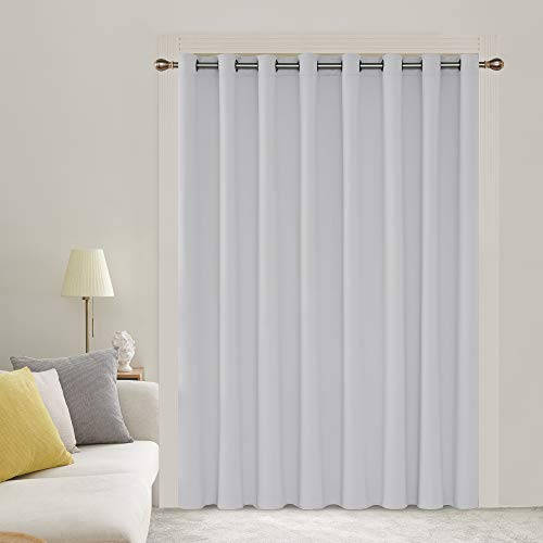 Deconovo Thermal Insulated Patio Door Curtains Heat Blocking Curtains 1 Panel Grommet Room Divider Darkening Curtain for Bedroom 100W X 84L Inch Greyish White 1 Drape