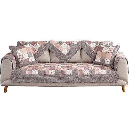 YUTJK Waschbare Sofakabdeckel des ländlichen Stils,Nicht elastisch Sofa überwurf Chaise Longue Linke und rechte Liege, frontansicht, Chenille,Rosa_90×180cm.