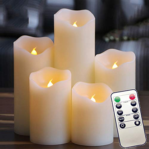Five Piece Set Flameless Led Tea Light With Remote Control, Realistic Dancing Led Flames Lamp Ideal For Party, Wedding, Birthday, Gifts Home Decoration (ivory)