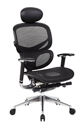 Boss Office Products Multi-Function Mesh Chair with Headrest in Black