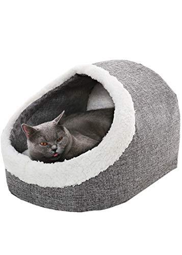 Abnehmbar Und Waschbar, Lamm Cashmere Warm Pet Kennel, Halb-eingezäunt, Katzentoilette (47 * 32 * 36CM,Grey)