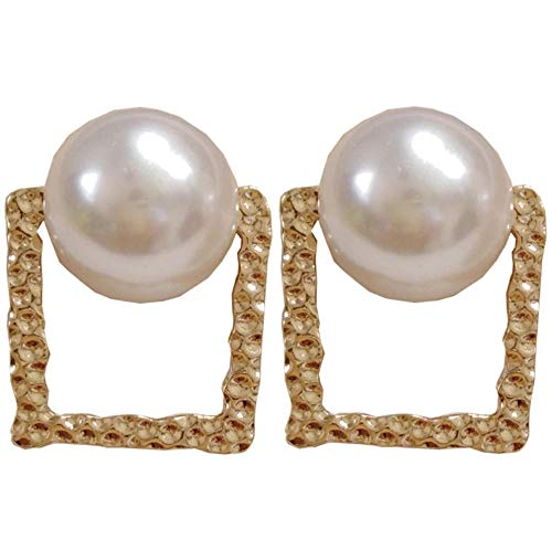 Yhhzw Big Stud Earring Elegant Square Golden Metal With Simulated Pearl Earrings Jewelry Party Wedding Gift