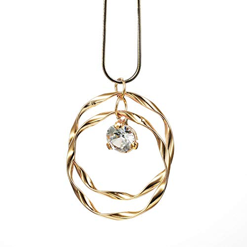 welbijoux Collar Largo para Mujer, joyería de Moda Bohemia con circonitas cúbicas en Forma de círculo, Collares con Caja de Regalo