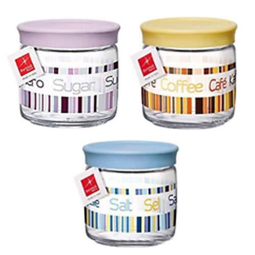 Bormioli Confezione da 3pz Contenitori barattoli in Vetro Decorato con Tappo ermetico salvafreschezza Sale Zucchero caffè Giara