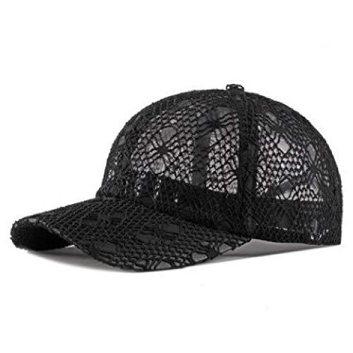 GorrasDeHombre Sombreros Tamaño Ajustable Gorras De Béisbol Transpirables Huecas para Mujer Gorra De Malla Ventilación De Verano Encaje Sombrero Femenino Gorra 56-62Cm (Ajustable) Negro