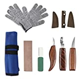 AWNIC Wood Carving Knives Set for Beginners 10 pcs Wood Whittling Kit with Gloves Woodworking