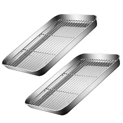 Cabilock 2 Juegos de Láminas de Acero Inoxidable para Hornear con Bandeja de Media Hoja para Galletas con Rejilla de Refrigeración para Hornear 26X20x2. 5Cm de Plata