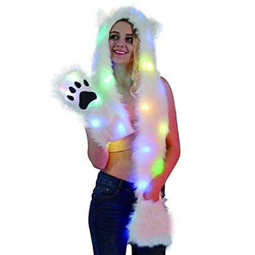 YICHUMY Led Hat Scarf Furry Hoddie Hat Faux Fur Hat Scarf/Pockets 3 in 1 Ear Flat Hat Hoodie Furry Gloves Party Costume for Halloween/Christmas Party(Cat)