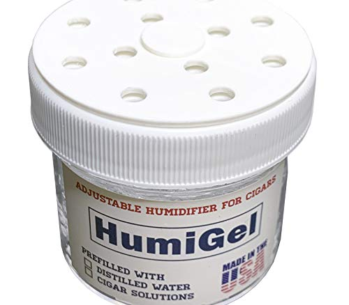Cigar humidifiers for humidors RH70% Regulator | Humigel Crystal Gel Humidifier, 2 oz jar | Use Adjustable Cap to fine-Tune 65%-70% Humidity | Made in USA by HumiGel
