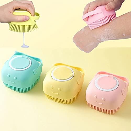 Silicone massage body scrubber, small silicone bathing loofah brush with soap dispenser, shower scrubbing brush for ladies, baby, pet (yellow, 1 pcs)