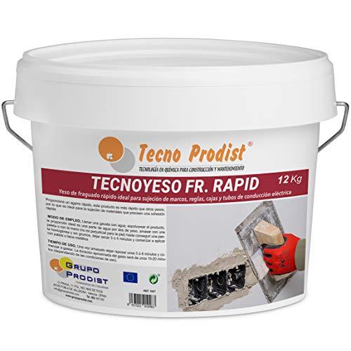 TECNO YESO RAPID de Tecno Prodist, (12 Kg) Yeso de fraguado rápido. Ideal para sujeción de marcos, reglas, cajas y tubos de conducción eléctrica.