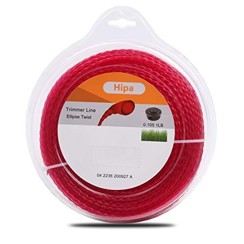 "Hipa 1-Pound .105"" Twist Trimmer Line 2.7mm Trimmer Line Compatible with Troy Bilt Poulan Ryobi, Echo, STHIL, Weed Eater, Craftsman Black and Decker Bruch Cutter"